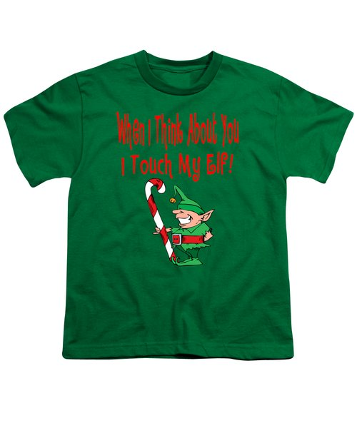 Naughty Christmas Elf Youth T-Shirt by Susan Cooper