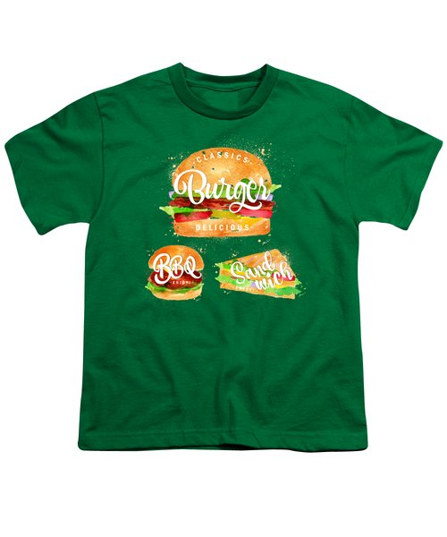 Vintage Burger Youth T-Shirt by Aloke Creative Store