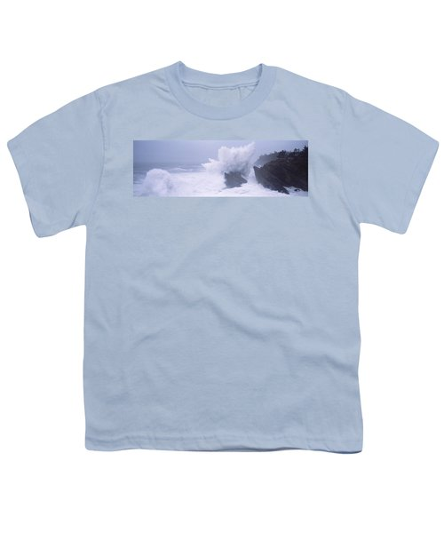 Waves Breaking On The Coast, Shore Youth T-Shirt
