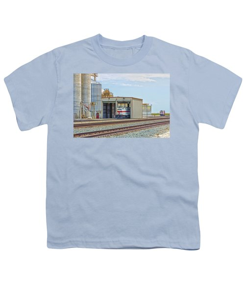 Youth T-Shirt featuring the photograph Foster Farms Locomotives by Jim Thompson