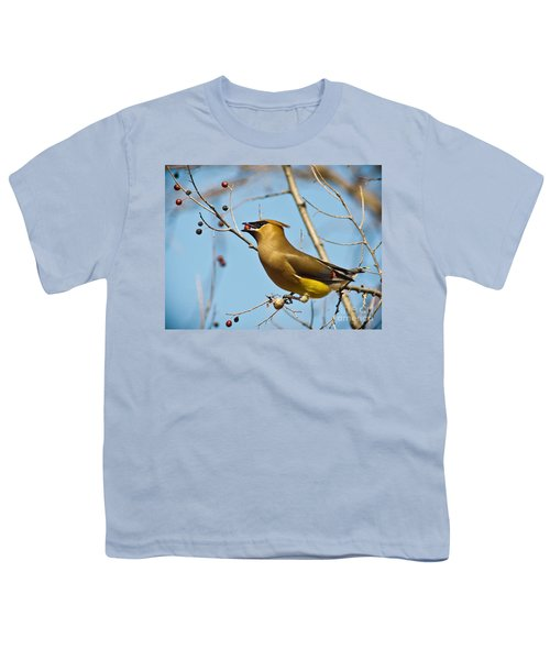 Cedar Waxwing With Berry Youth T-Shirt by Robert Frederick