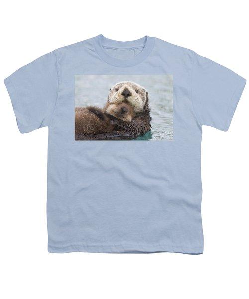 Female Sea Otter Holding Newborn Pup Youth T-Shirt