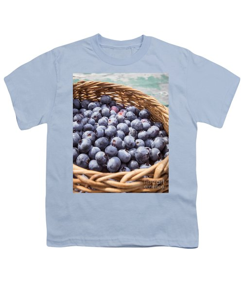 Basket Of Fresh Picked Blueberries Youth T-Shirt by Edward Fielding