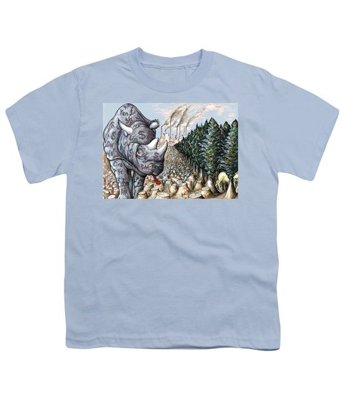 Money Against Nature - Cartoon Art Youth T-Shirt by Art America Online Gallery