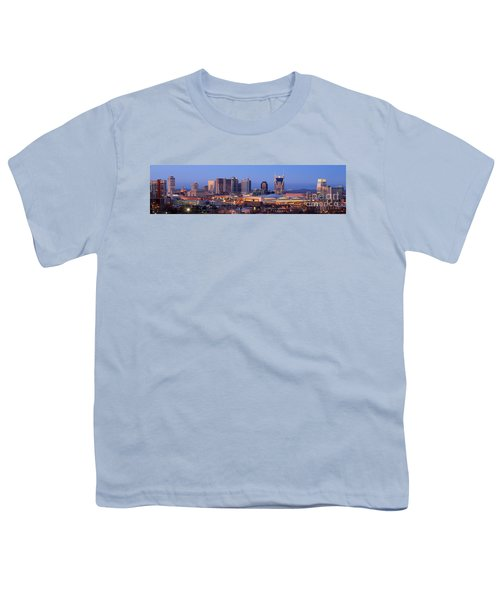 Nashville Skyline At Dusk Panorama Color Youth T-Shirt
