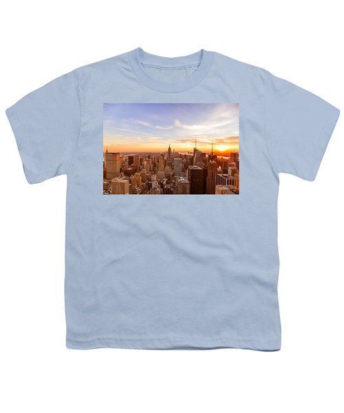 New York City - Sunset Skyline Youth T-Shirt by Vivienne Gucwa