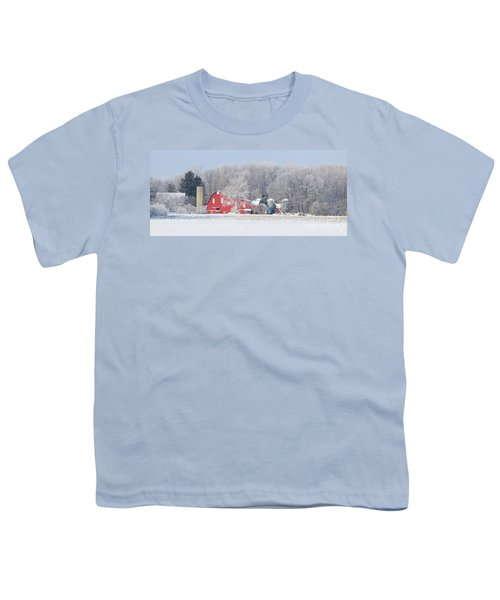 Red Barn Frosty Morning Panorama1 Youth T-Shirt by Jack Schultz