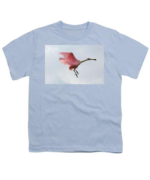 Roseate Spoonbill In Flight Youth T-Shirt by Carol Groenen