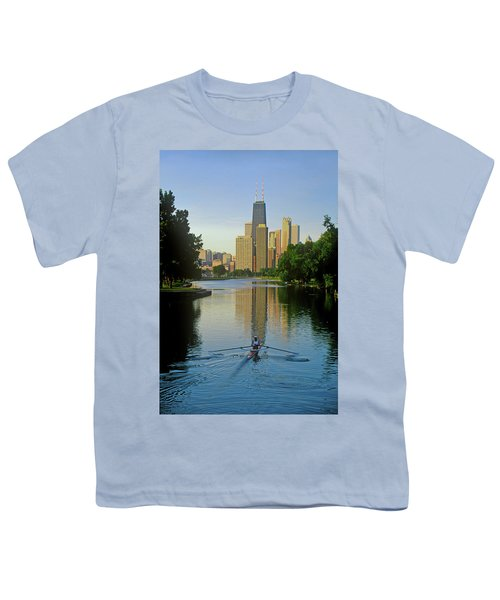 Rower On Chicago River With Skyline Youth T-Shirt