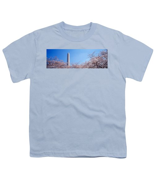 Washington Monument Behind Cherry Youth T-Shirt by Panoramic Images