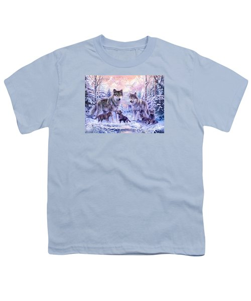Winter Wolf Family  Youth T-Shirt