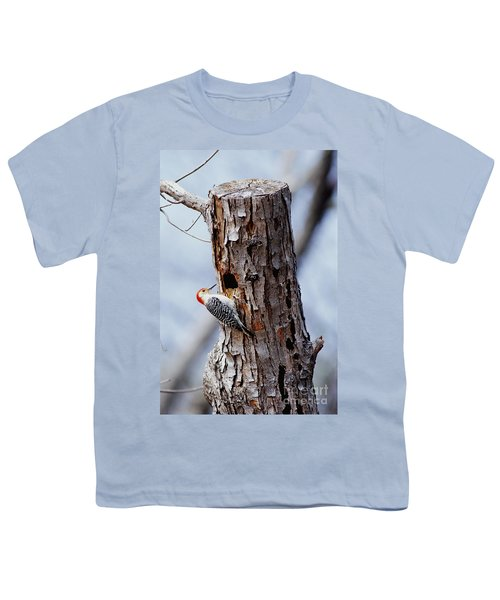 Woodpecker And Starling Fight For Nest Youth T-Shirt by Gregory G. Dimijian