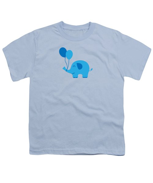 Sweet Funny Baby Elephant With Balloons Youth T-Shirt by Philipp Rietz
