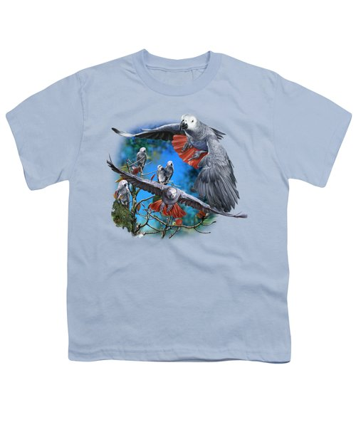 African Grey Parrots Youth T-Shirt by Owen Bell