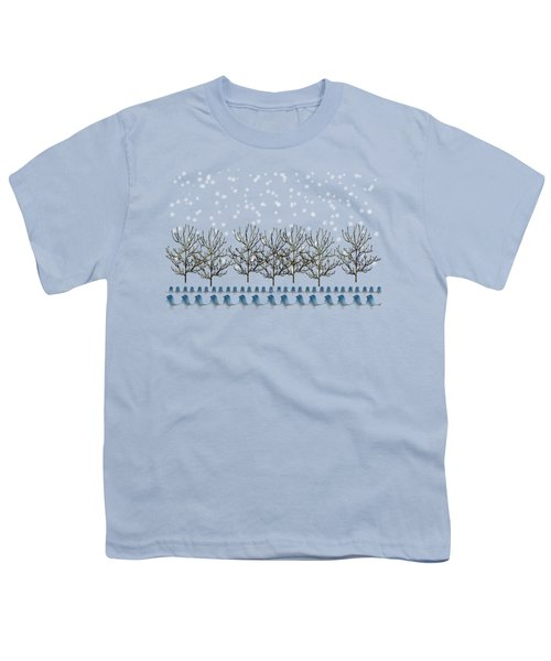 Winter Bluebirds In The Snow Youth T-Shirt by Anne Kitzman