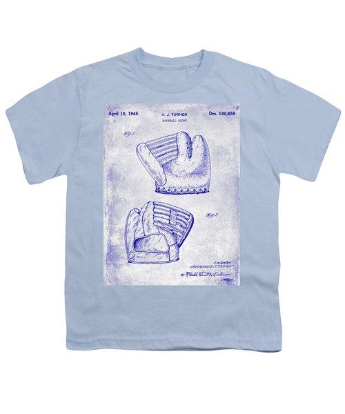 1945 Baseball Glove Patent Blueprint Youth T-Shirt