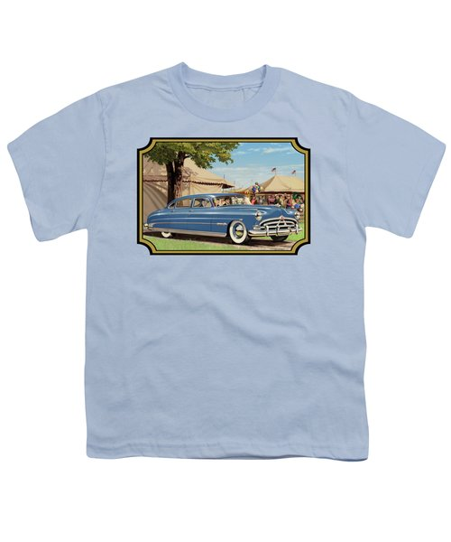 1951 Hudson Hornet Fair Americana Antique Car Auto Nostalgic Rural Country Scene Landscape Painting Youth T-Shirt