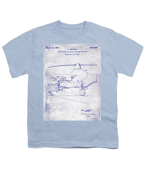 1953 Helicopter Patent Blueprint Youth T-Shirt