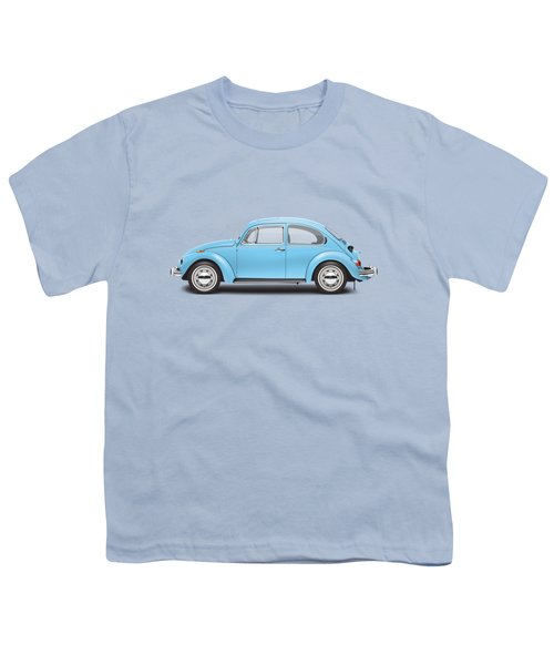1972 Volkswagen Super Beetle - Marina Blue Youth T-Shirt by Ed Jackson