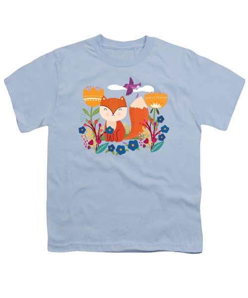 A Fox In The Flowers With A Flying Feathered Friend Youth T-Shirt