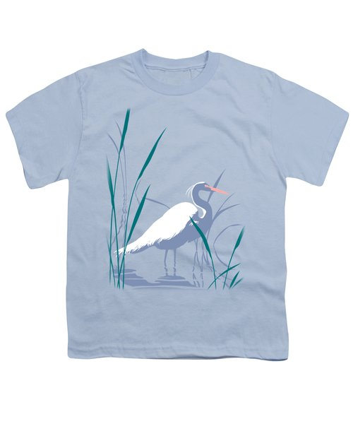 abstract Egret graphic pop art nouveau 1980s stylized retro tropical florida bird print blue gray  Youth T-Shirt