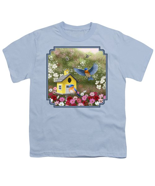 Bluebirds And Yellow Birdhouse Youth T-Shirt