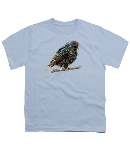 Wet Starling Youth T-Shirt by Bamalam Photography