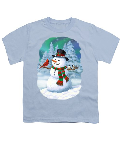 Sharing The Wonder - Christmas Snowman And Birds Youth T-Shirt by Crista Forest