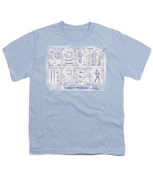 Baseball Patent History Blueprint Youth T-Shirt