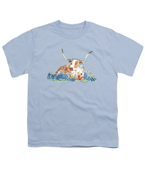 Bessie In The Bluebonnets Watercolor Painting By Kmcelwaine Youth T-Shirt