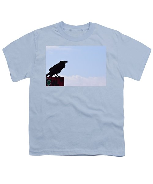 Crow Profile Youth T-Shirt by Sandy Taylor