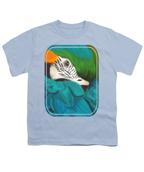 Blue And Gold Macaw Youth T-Shirt by Becky Herrera
