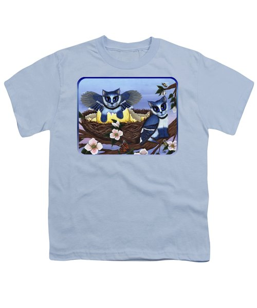 Blue Jay Kittens Youth T-Shirt by Carrie Hawks