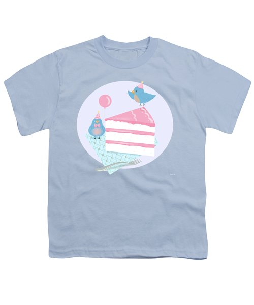 Bluebirds Love Birthday Cake Youth T-Shirt by Little Bunny Sunshine
