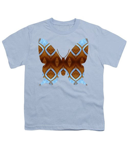 Brown And Blue Butterfly Youth T-Shirt