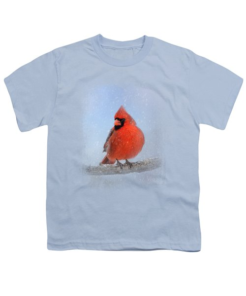 Cardinal In The Snow Youth T-Shirt by Jai Johnson