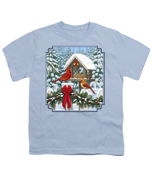 Cardinals Christmas Feast Youth T-Shirt by Crista Forest