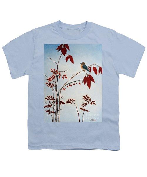Cedar Waxwing Youth T-Shirt by Laura Tasheiko