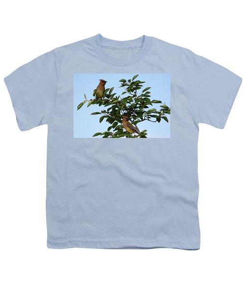 Cedar Waxwing Pair Youth T-Shirt