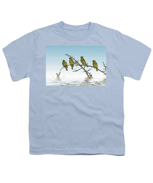 Cedar Waxwings On A Branch Youth T-Shirt by Geraldine Scull