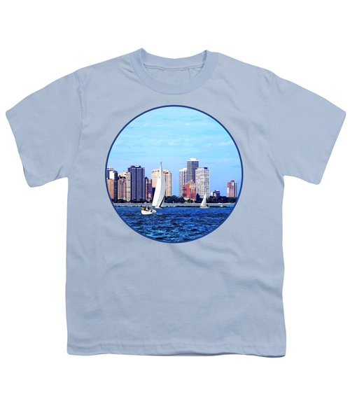 Chicago Il - Two Sailboats Against Chicago Skyline Youth T-Shirt by Susan Savad