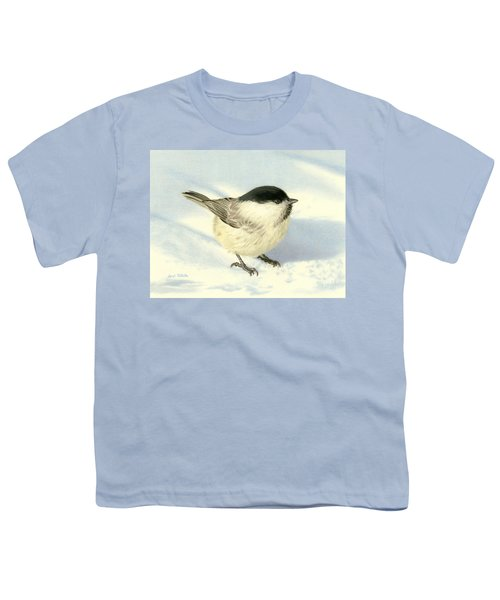 Chilly Chickadee Youth T-Shirt by Sarah Batalka