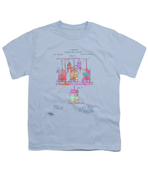 Colorful 1873 Brewing Beer And Ale Patent Artwork Youth T-Shirt