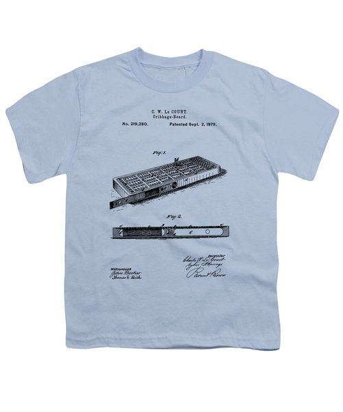 Cribbage Board 1879 Patent Art Transparent Youth T-Shirt