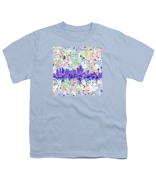 Dallas Skyline Map White 3 Youth T-Shirt