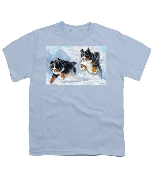 Youth T-Shirt featuring the painting Dashing Through The Snow by Donna Mulley