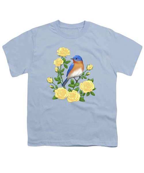 Eastern Bluebird And Yellow Roses Youth T-Shirt