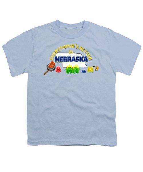 Everything's Better In Nebraska Youth T-Shirt by Pharris Art
