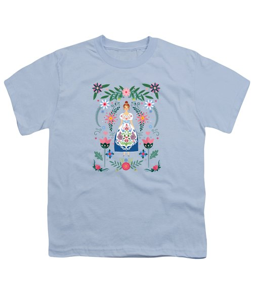 Fairy Tale Folk Art Garden Youth T-Shirt