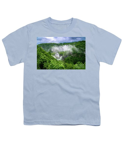 Falls Through The Fog - Plitvice Lakes National Park Croatia Youth T-Shirt